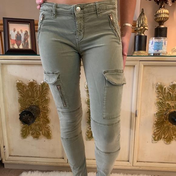 Zara Women Premium Denim Collection Army Cargo Pants w Zippers and Pockets Sz 4